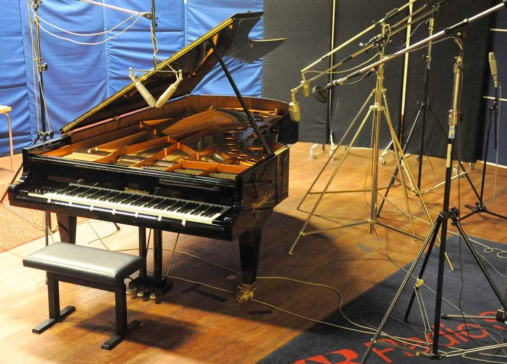 A Bösendorfer Grand Imperial being recorded for the Nord Piano Library at the Swedish National Radio studio.